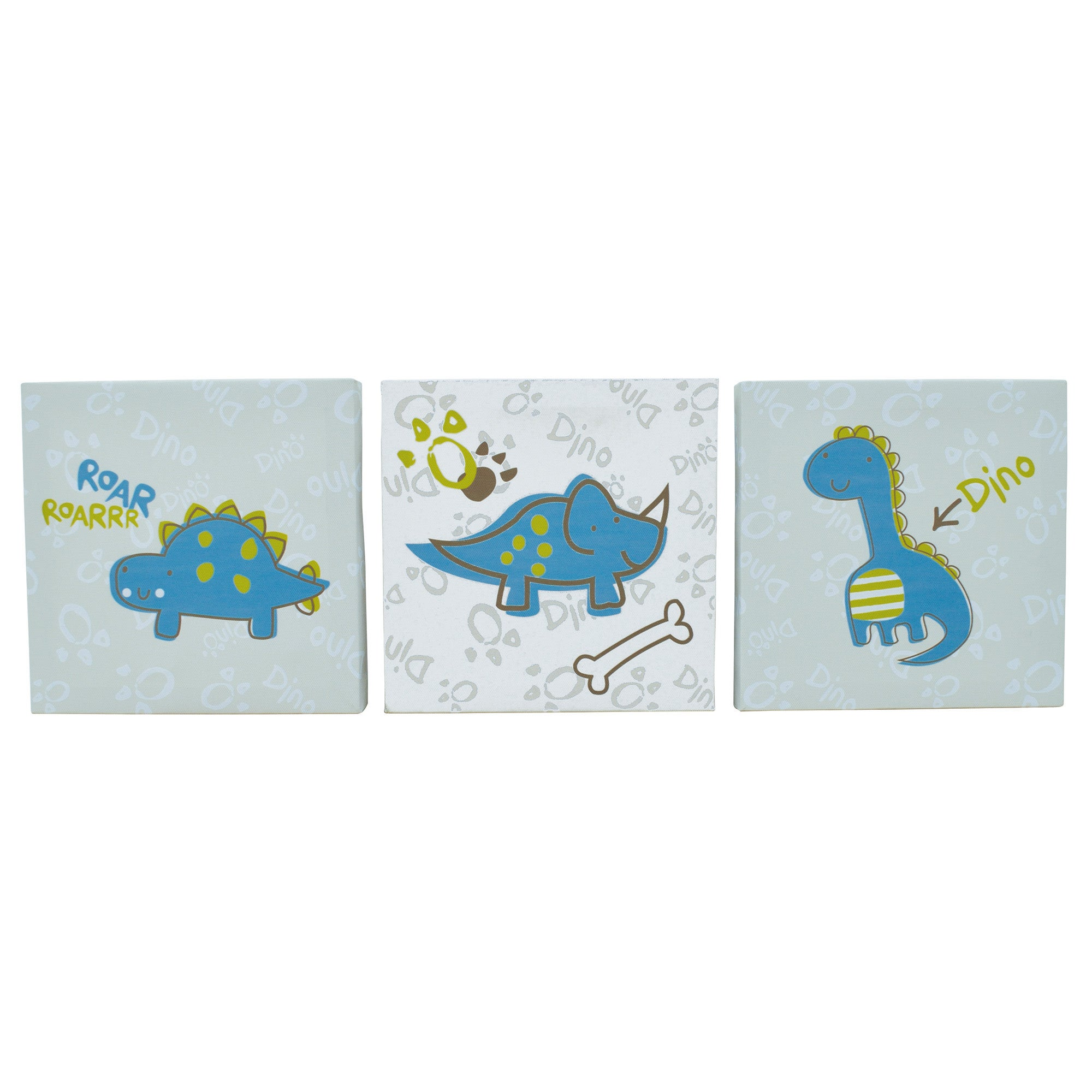 Kids Roaring Dino Collection Set of 3 Canvases