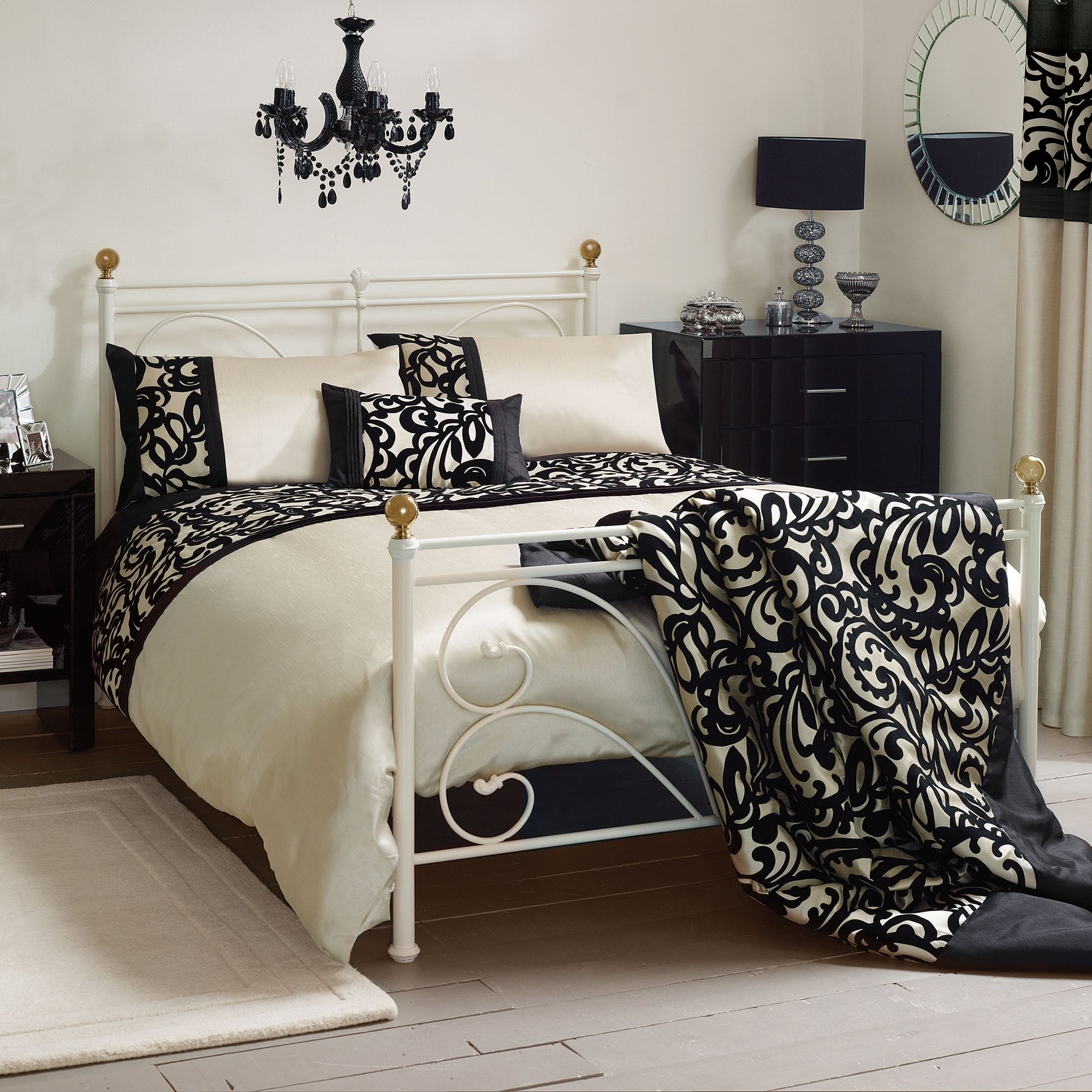 Black Baroque Flock Collection Duvet Cover