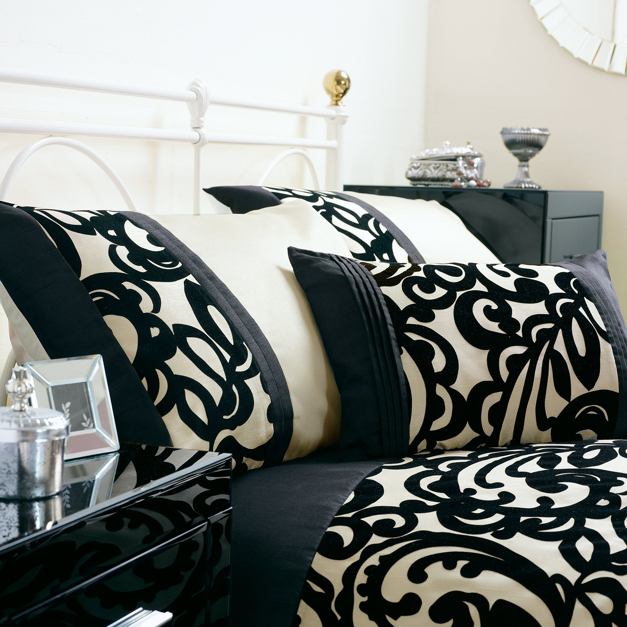 Black Baroque Flock Housewife Pillowcase