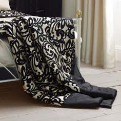 Black Baroque Flock Collection Bedspread