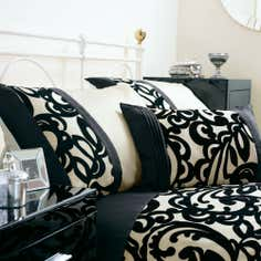 Black Baroque Flock Collection Boudoir Cushion