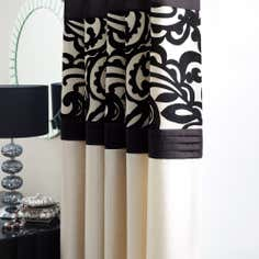 Black Baroque Flock Lined Eyelet Curtains