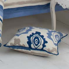 Blue Ikat Collection Square Cushion
