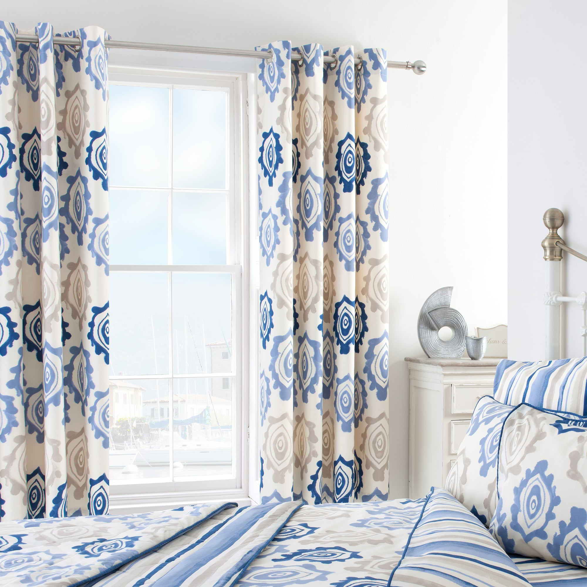 Blue Ikat Thermal Eyelet Curtains