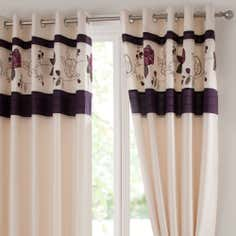 Plum Lace Rose Thermal Eyelet Curtains