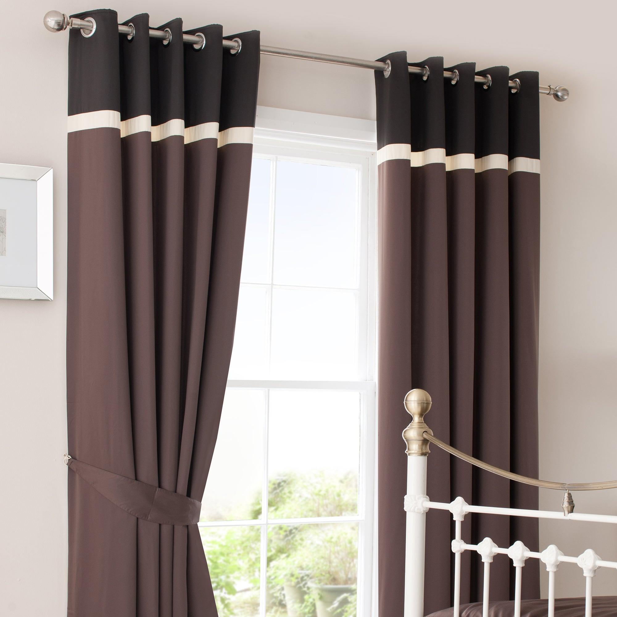 Chocolate Lisbon Thermal Eyelet Curtains