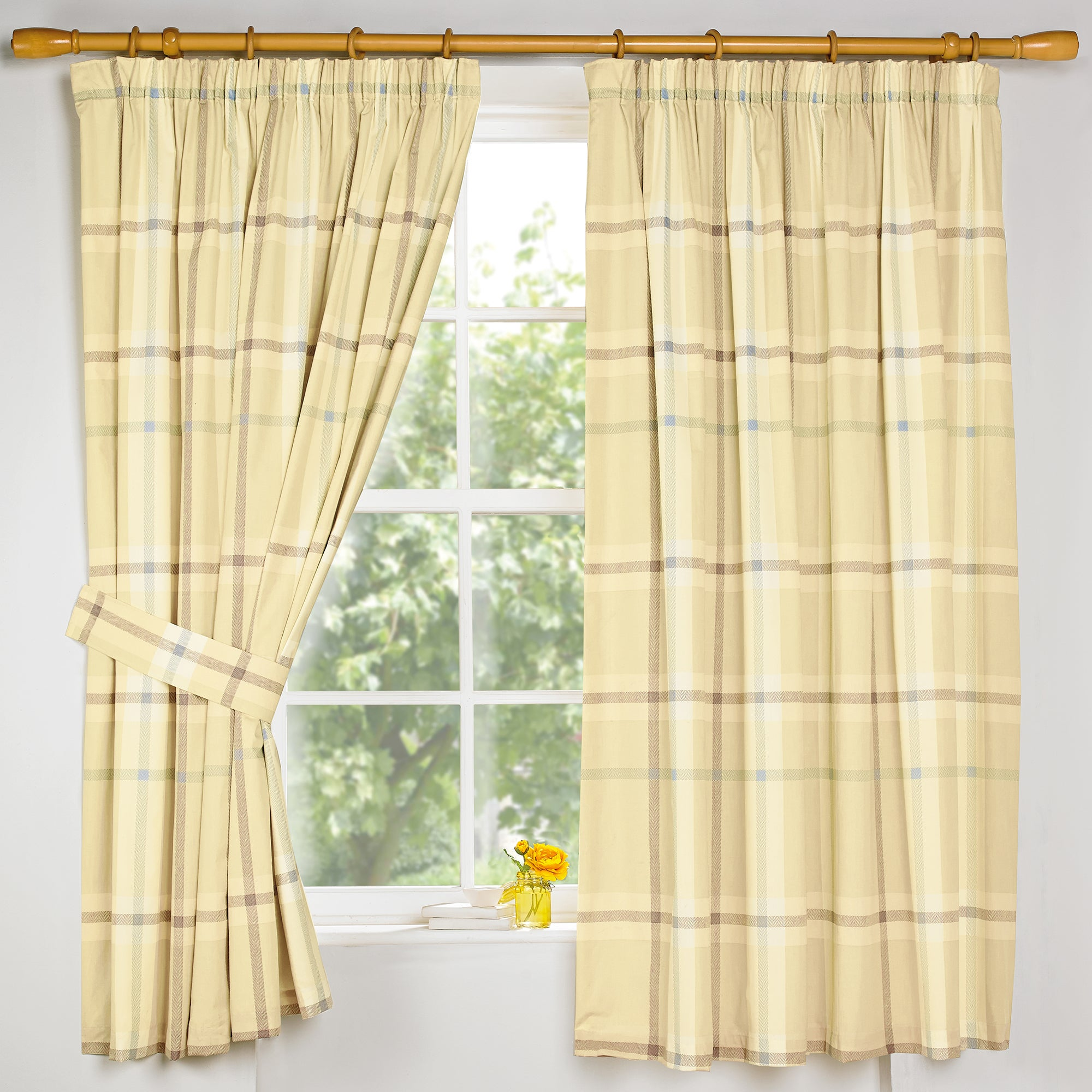 Lemon Colonial Check Thermal Pencil Pleat Curtains