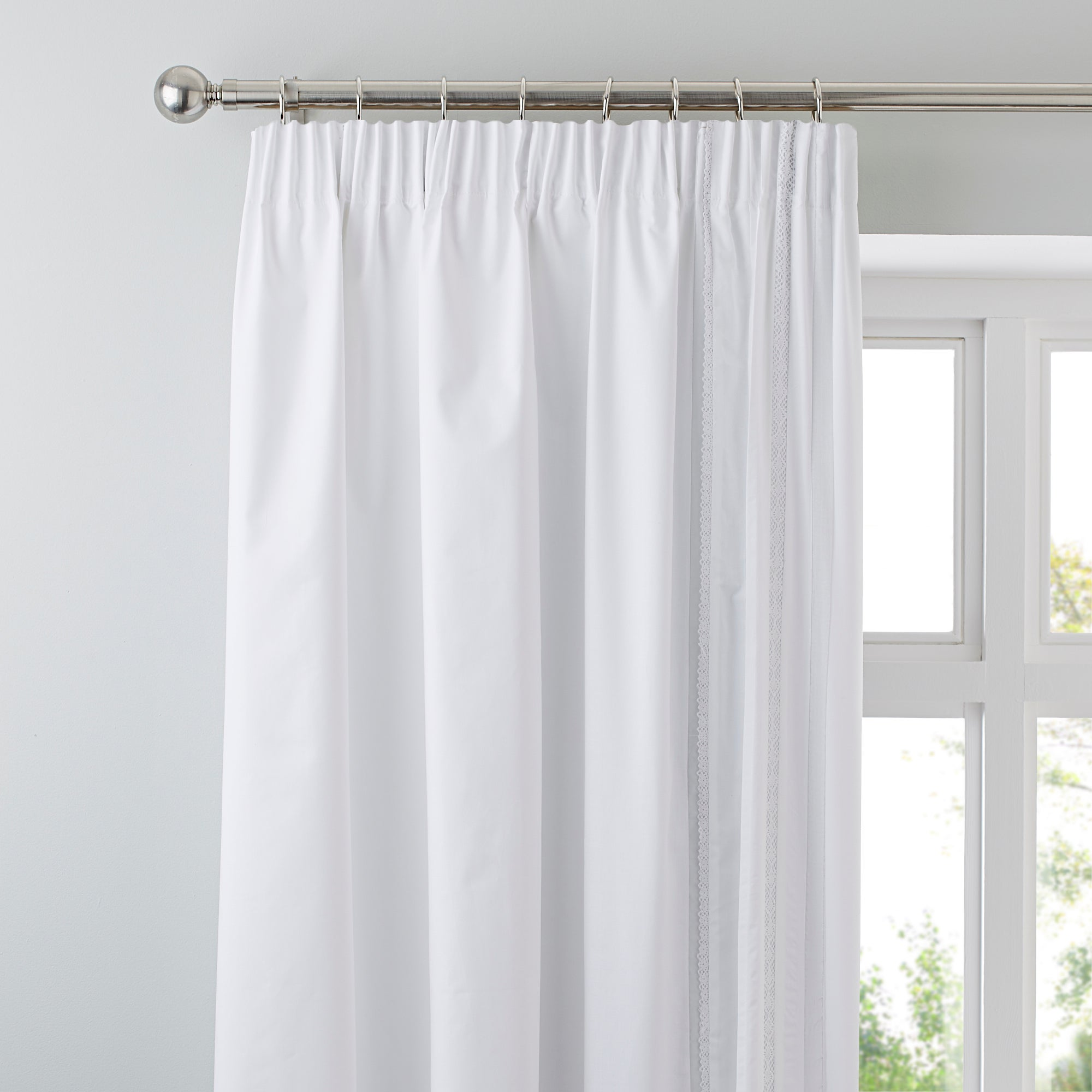 White Evangeline Thermal Pencil Pleat Curtains
