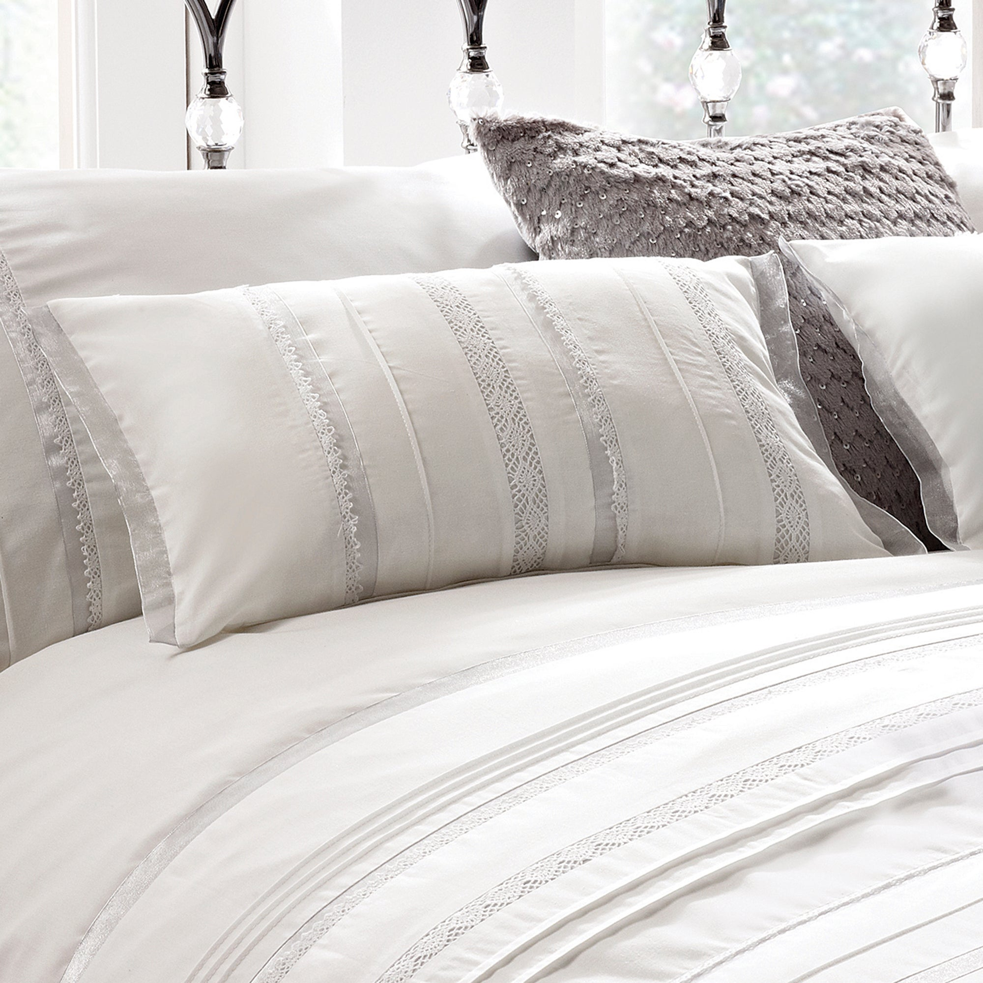 White Evangeline Collection Boudoir Cushion