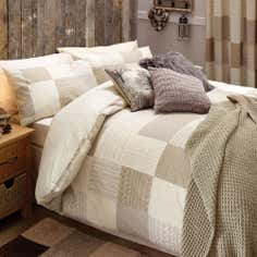 Natural Knitted Patchwork Collection Duvet Cover Set