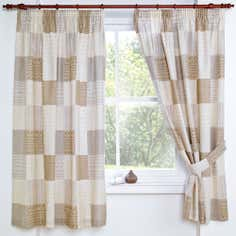 Natural Knitted Patchwork Pencil Pleat Curtains