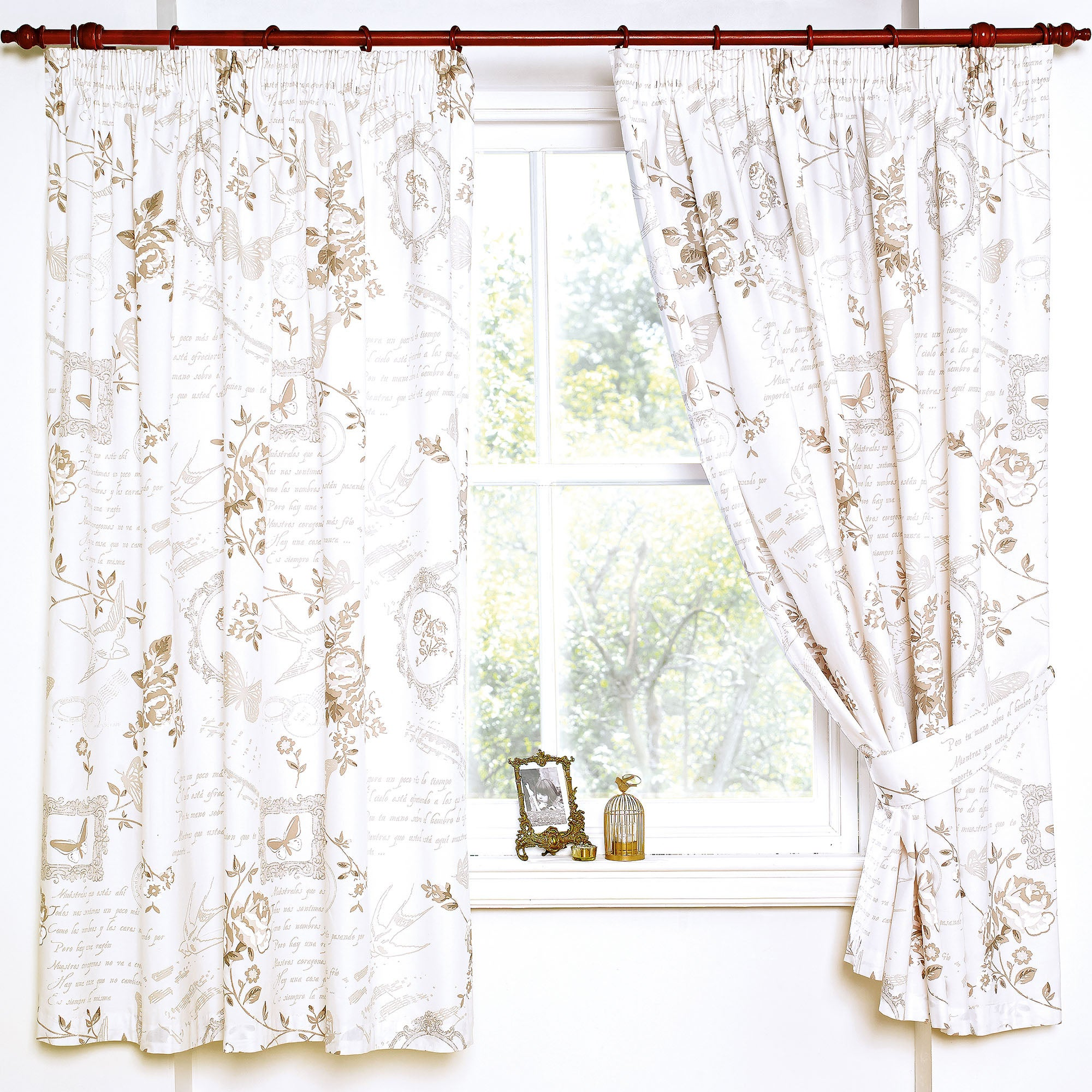 Latte Nostalgic Bluebird Thermal Pencil Pleat Curtains