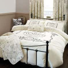 Cream Vintage Paris Collection Duvet Set