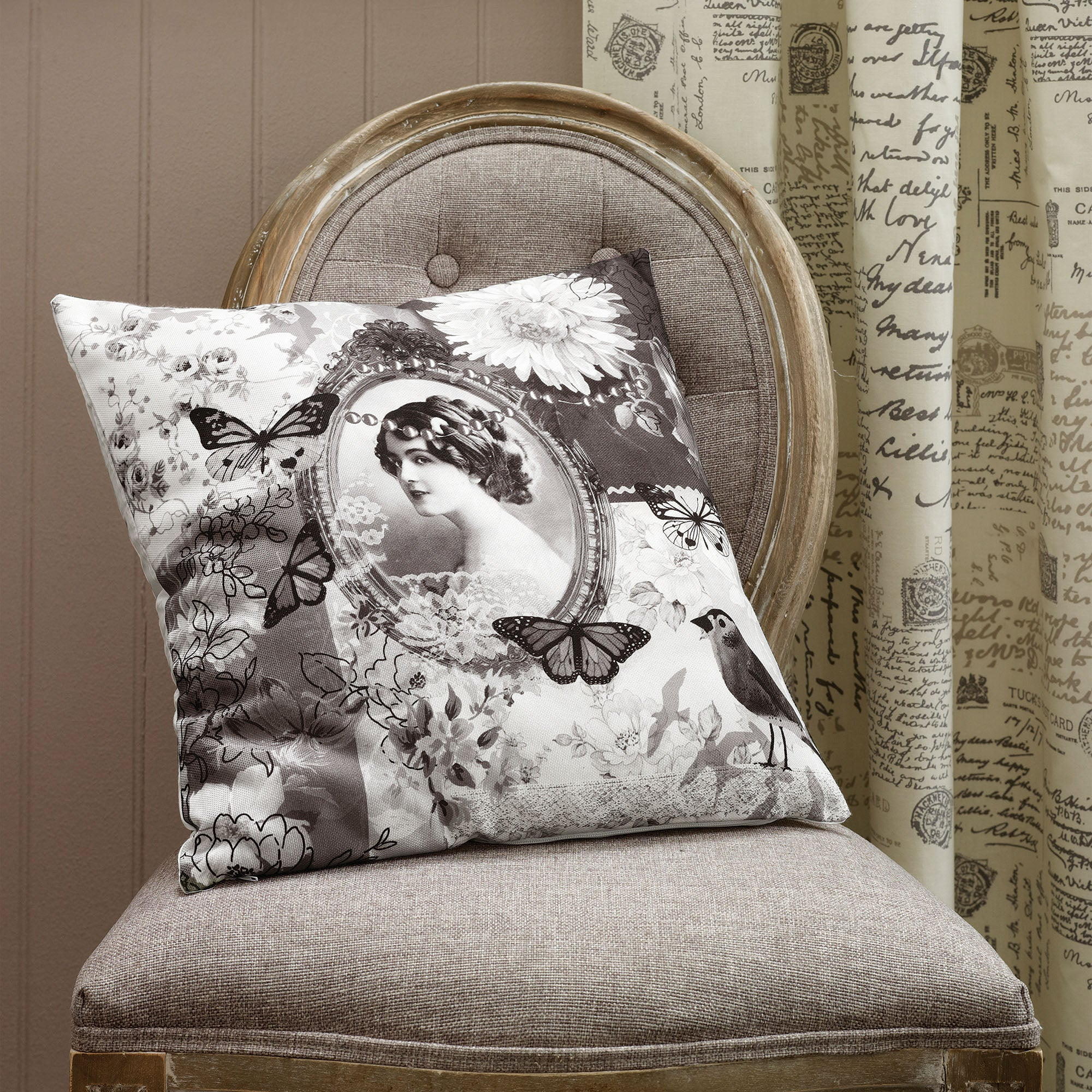 Cream Vintage Paris Collection Cushion