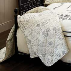 Cream Vintage Paris Script Collection Bedspread