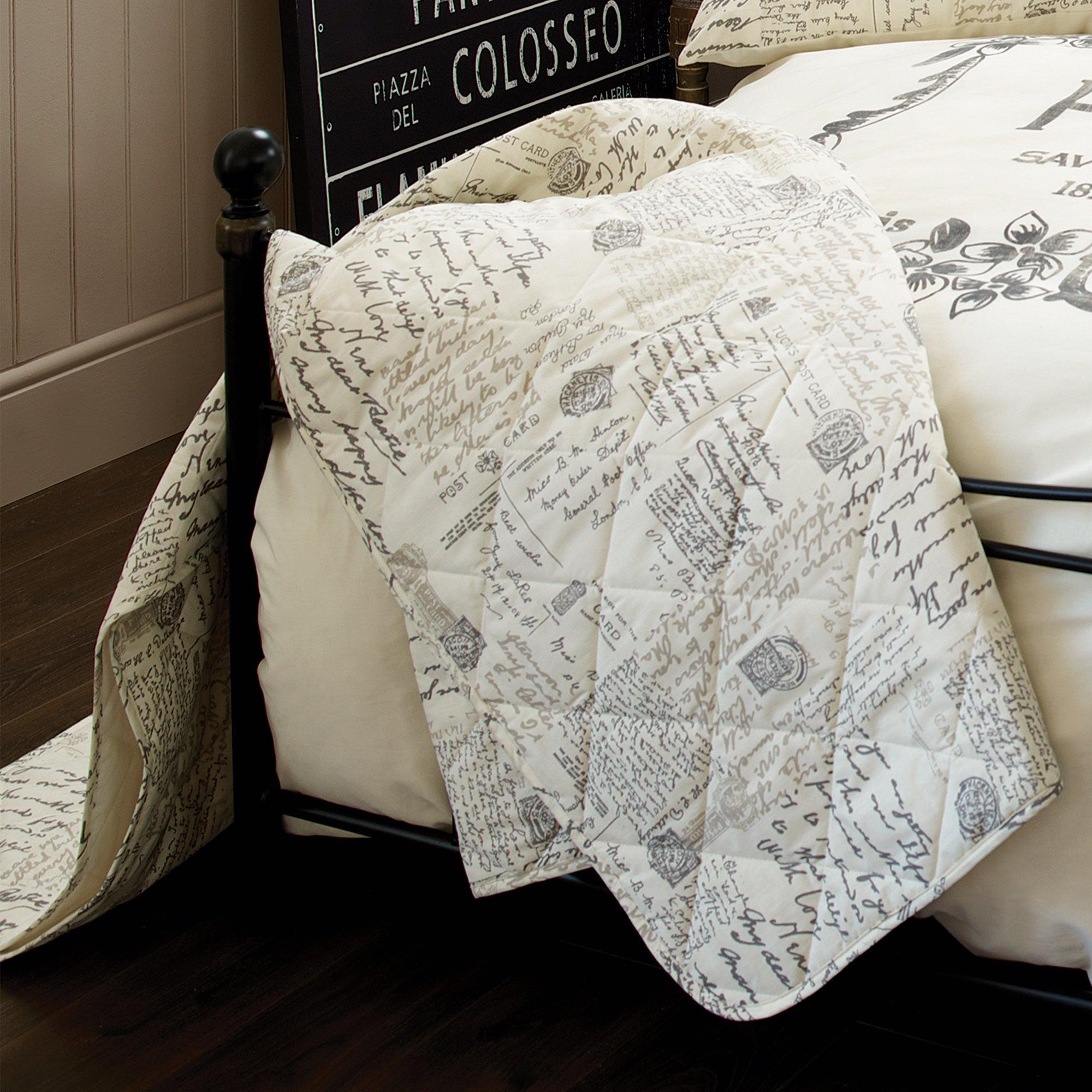 Cream Vintage Paris Script Collection Bedspread