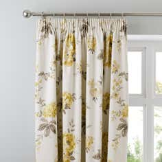 Lemon Windermere Thermal Pencil Pleat Curtains