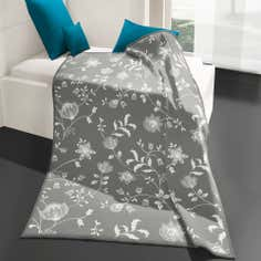 Thermosoft Grey Floral Throw
