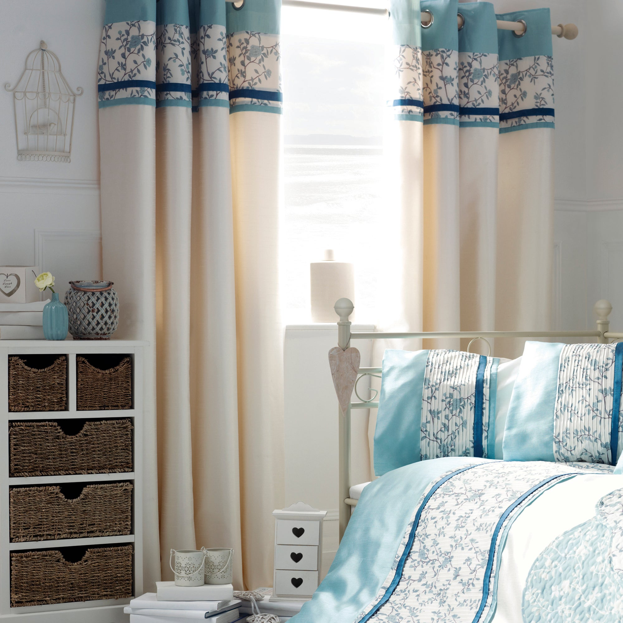 Blue Chinoiserie Lined Eyelet Curtains