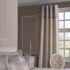 Gold Filigree Lined Eyelet Curtains