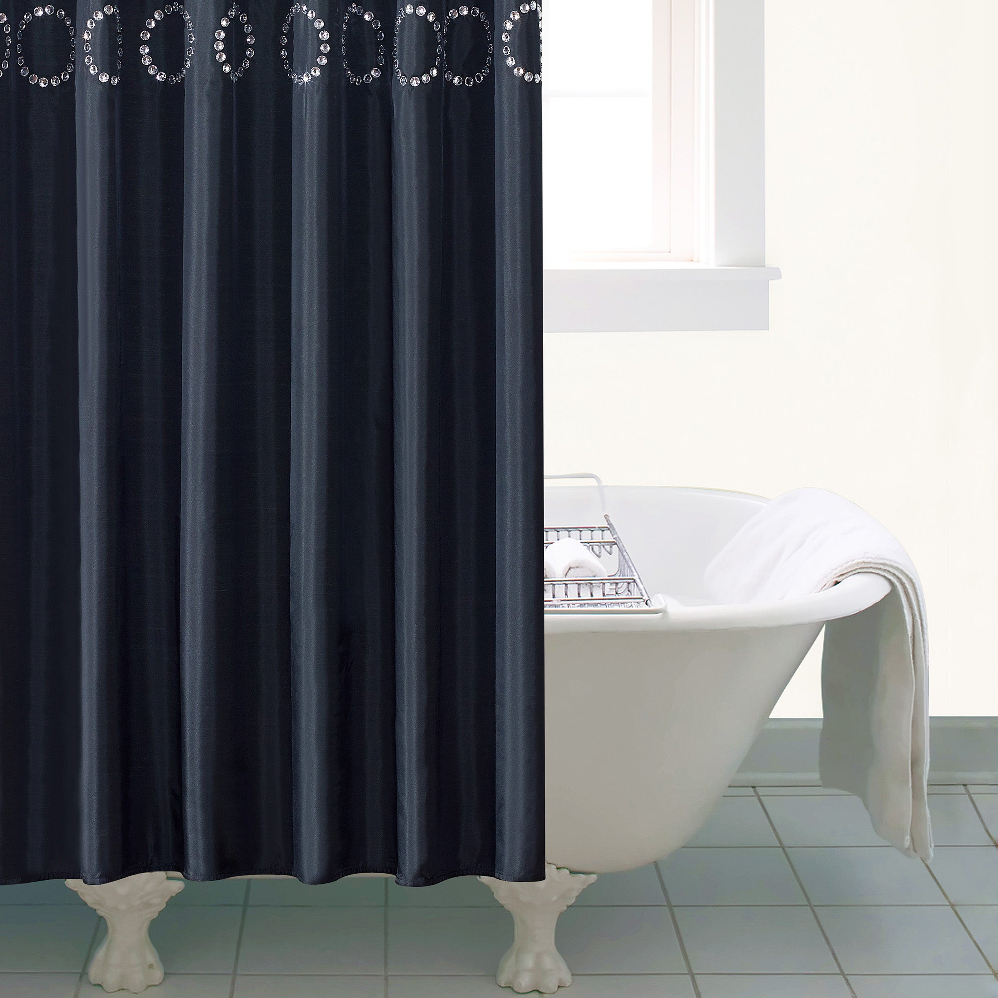 Black Sequin Large Shower Curtain