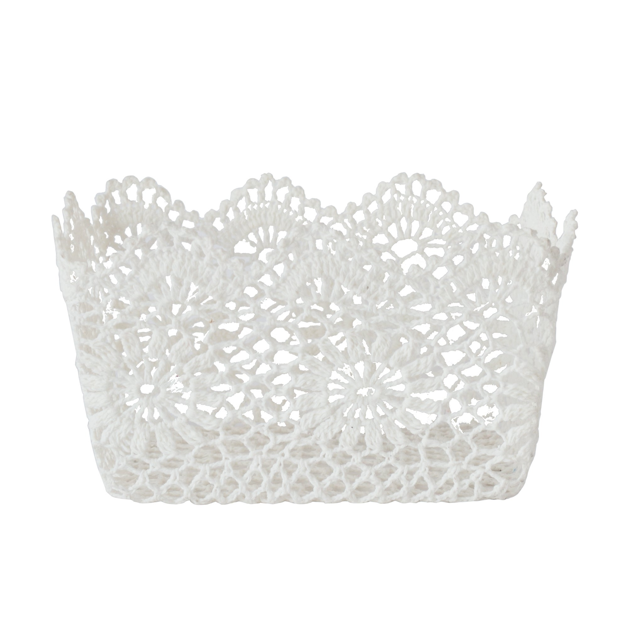 White Cotton Crochet Storage Basket