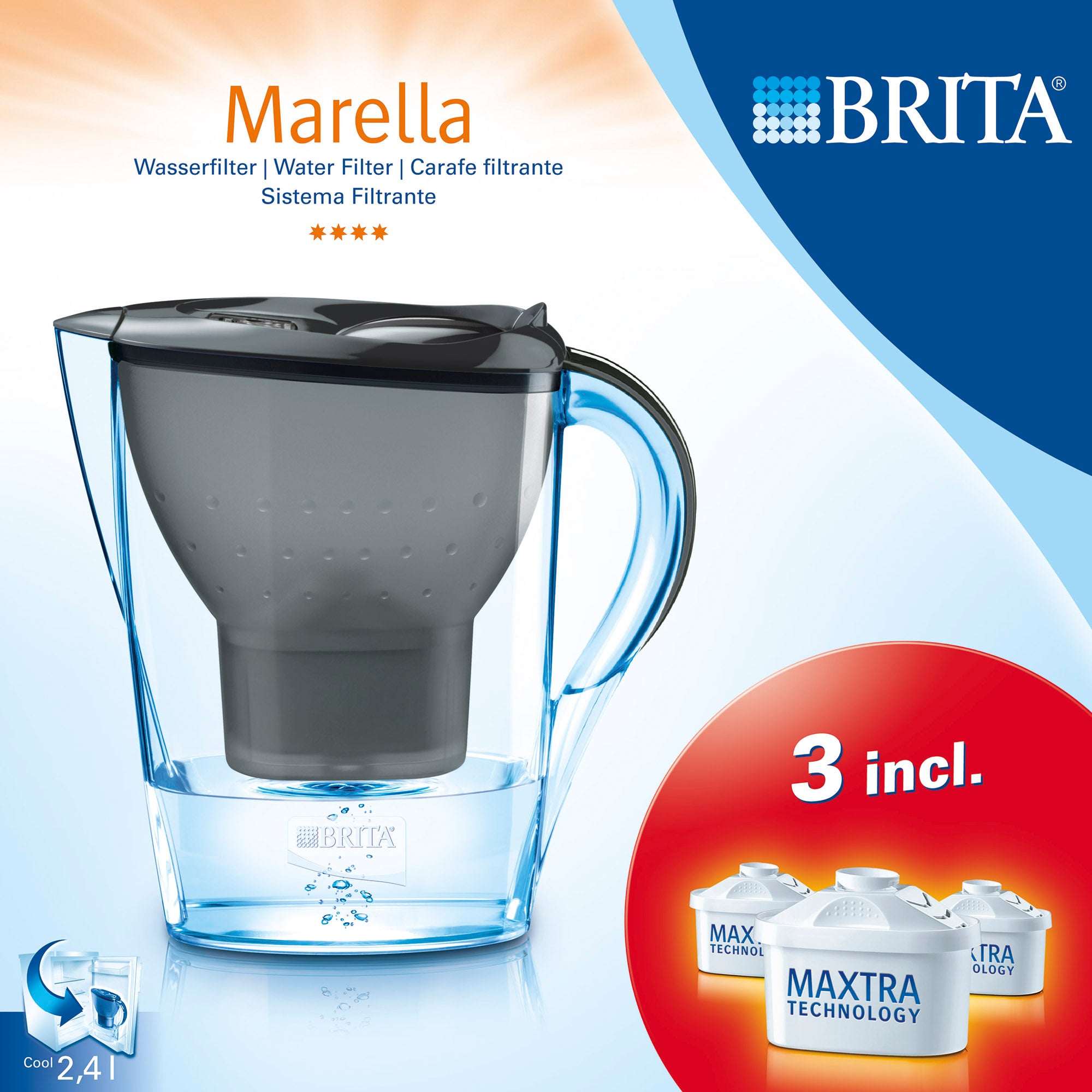 Brita Marella Water Filter Jug With Three Cartridges