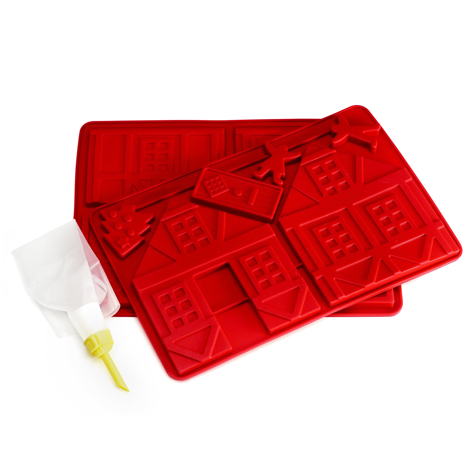 Red Silicone Chocolate House Mould Set