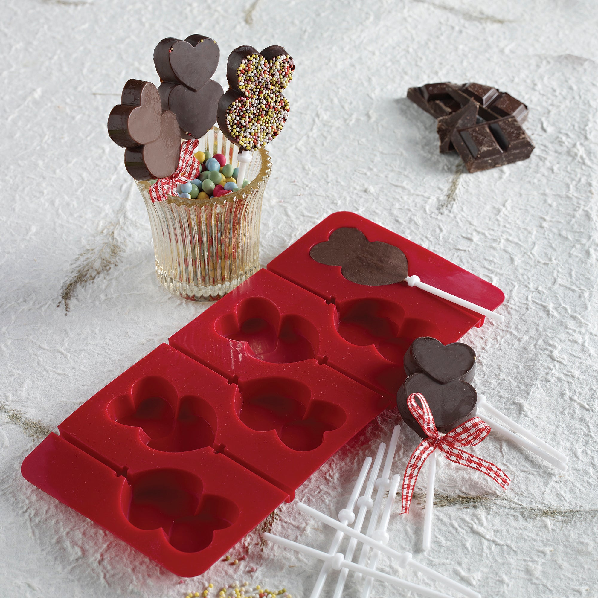 Kids 6 Cup Hearts Lollipop Silicone Mould