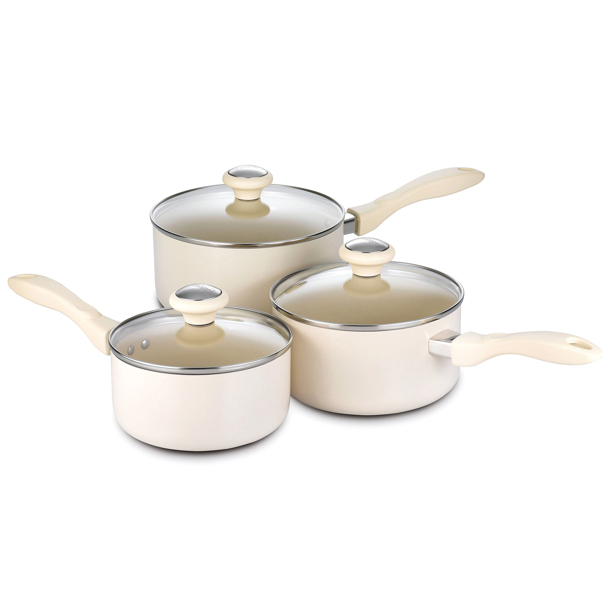Prestige Create Almond 3 Piece Saucepan Set
