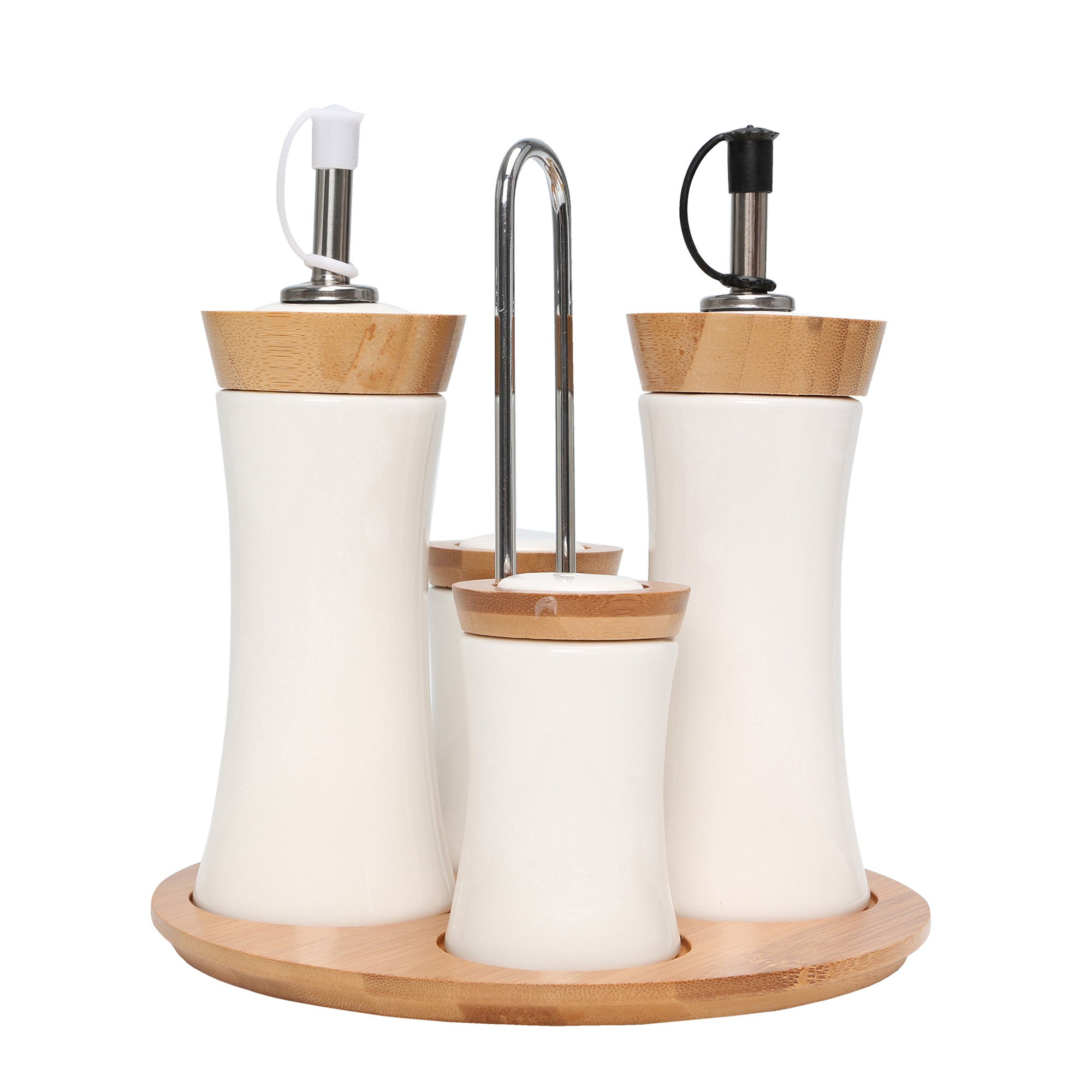 Condiment Set With Bamboo Stand