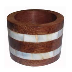 Wooden Pearl Stripe Napkin Ring