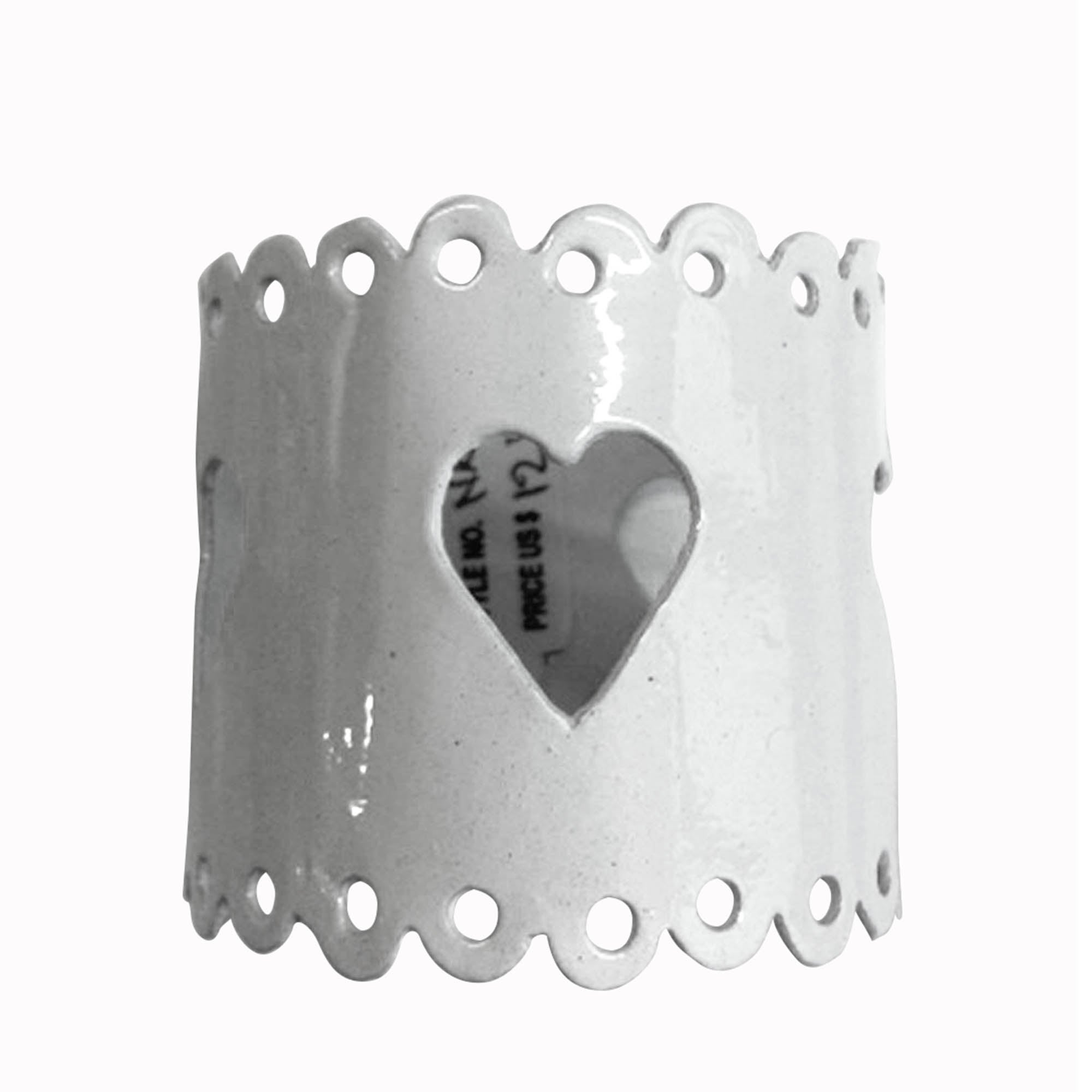 White Heart Napkin Ring