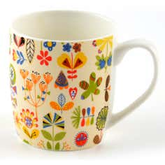 Folk Floral Barrel Mug