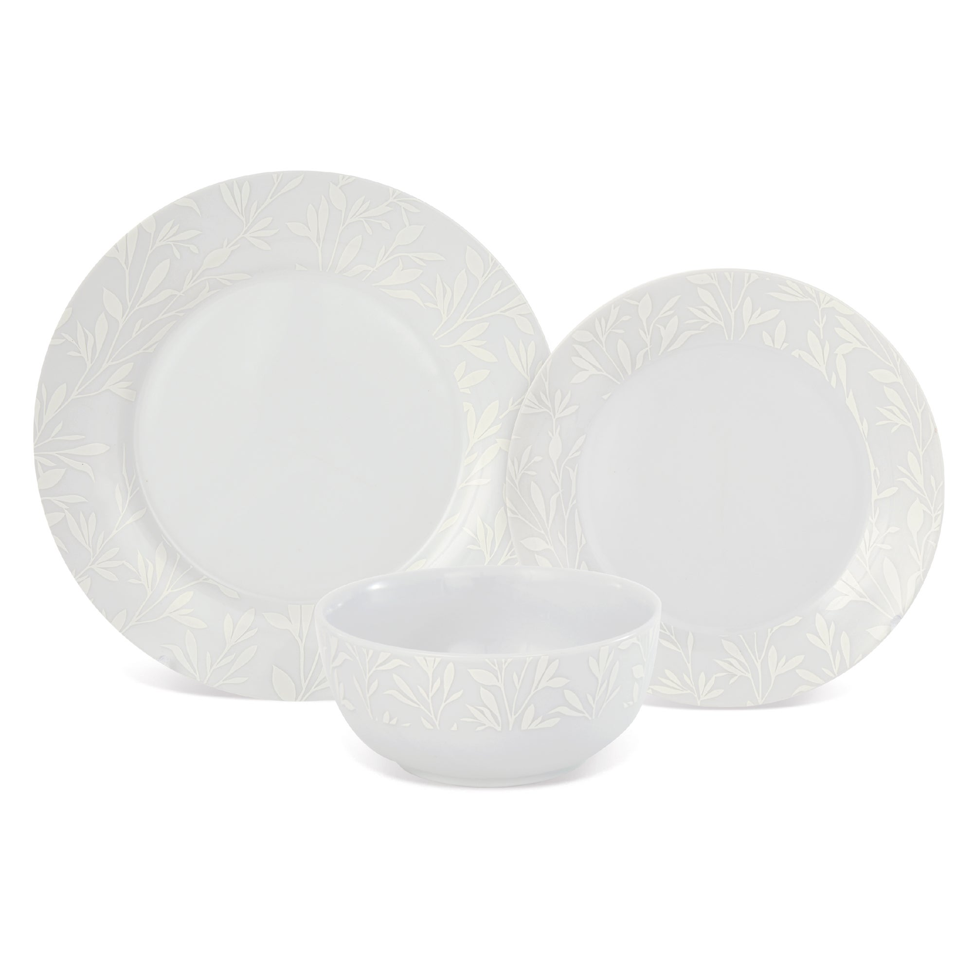 White on White Collection 12 Piece Dinner Set