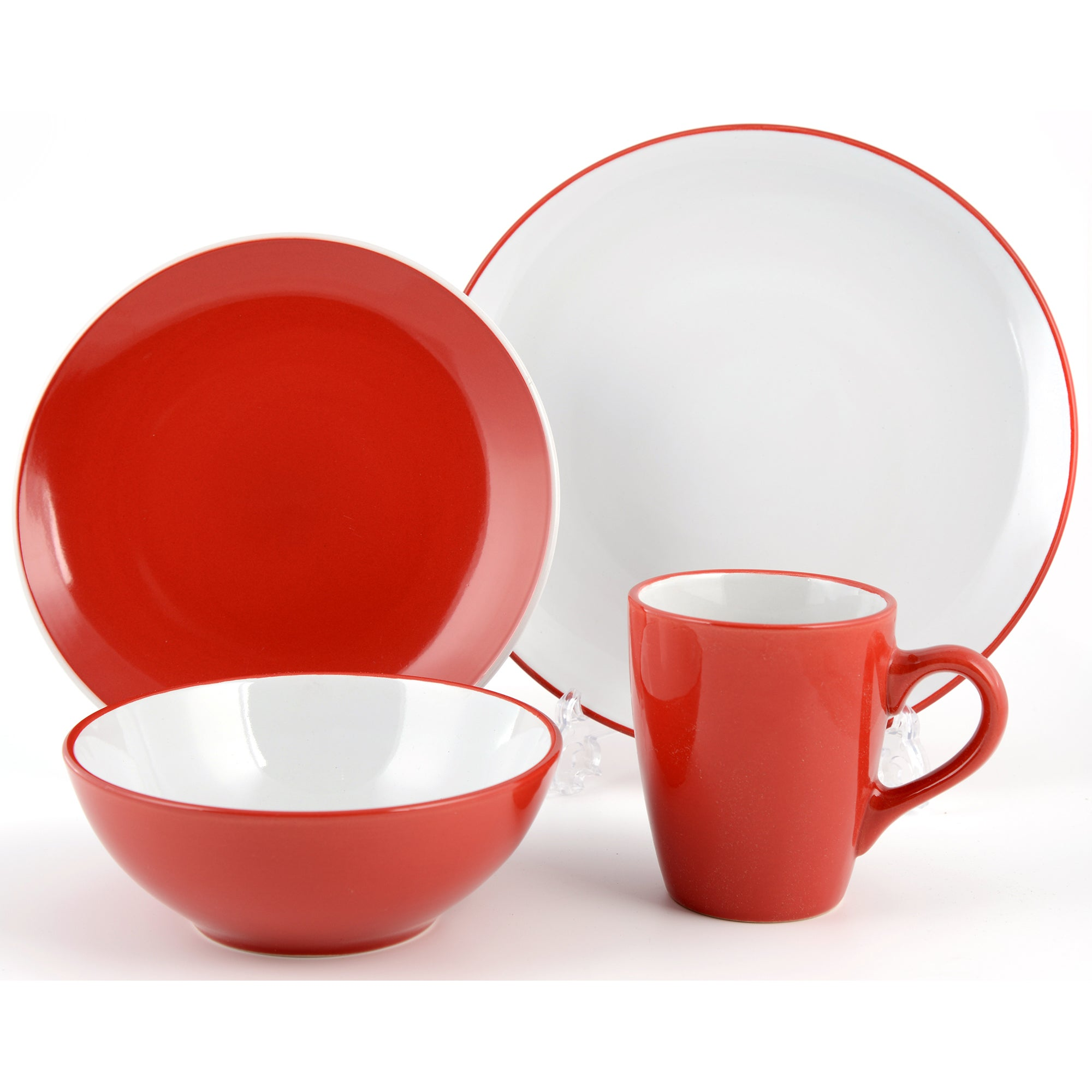 Red Spectrum Collection 16 Piece Dinner Set