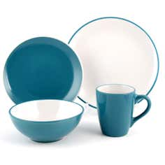 Teal Spectrum 16 Piece Dinner Set