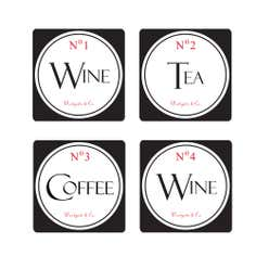 Vintage Tea Sign Collection Set of 4 Coasters