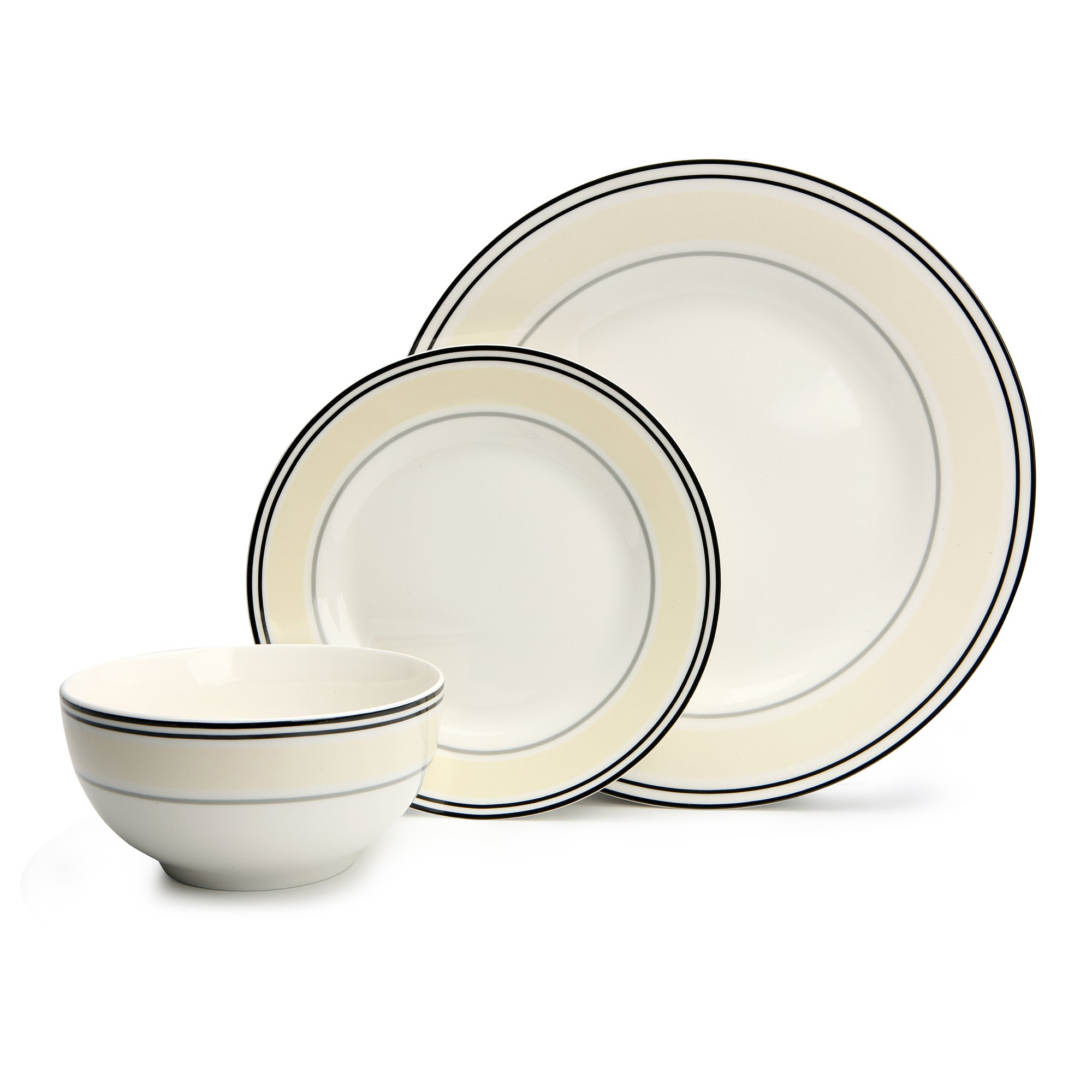 City Stripe Collection 12 Piece Dinner Set