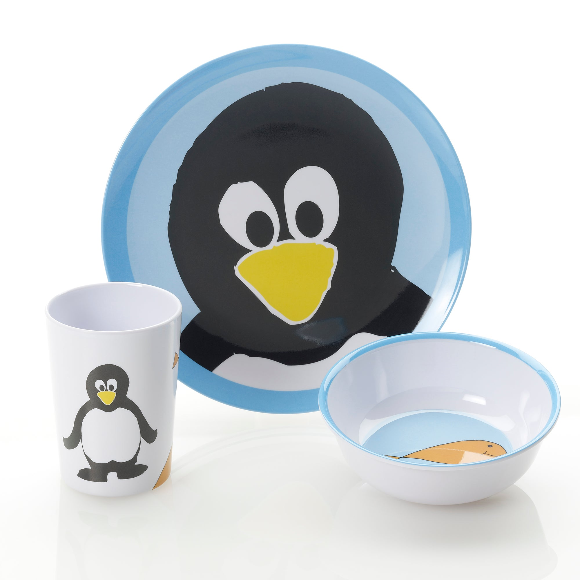 Kids Viners Penguin 3 Piece Melamine Dinner Set