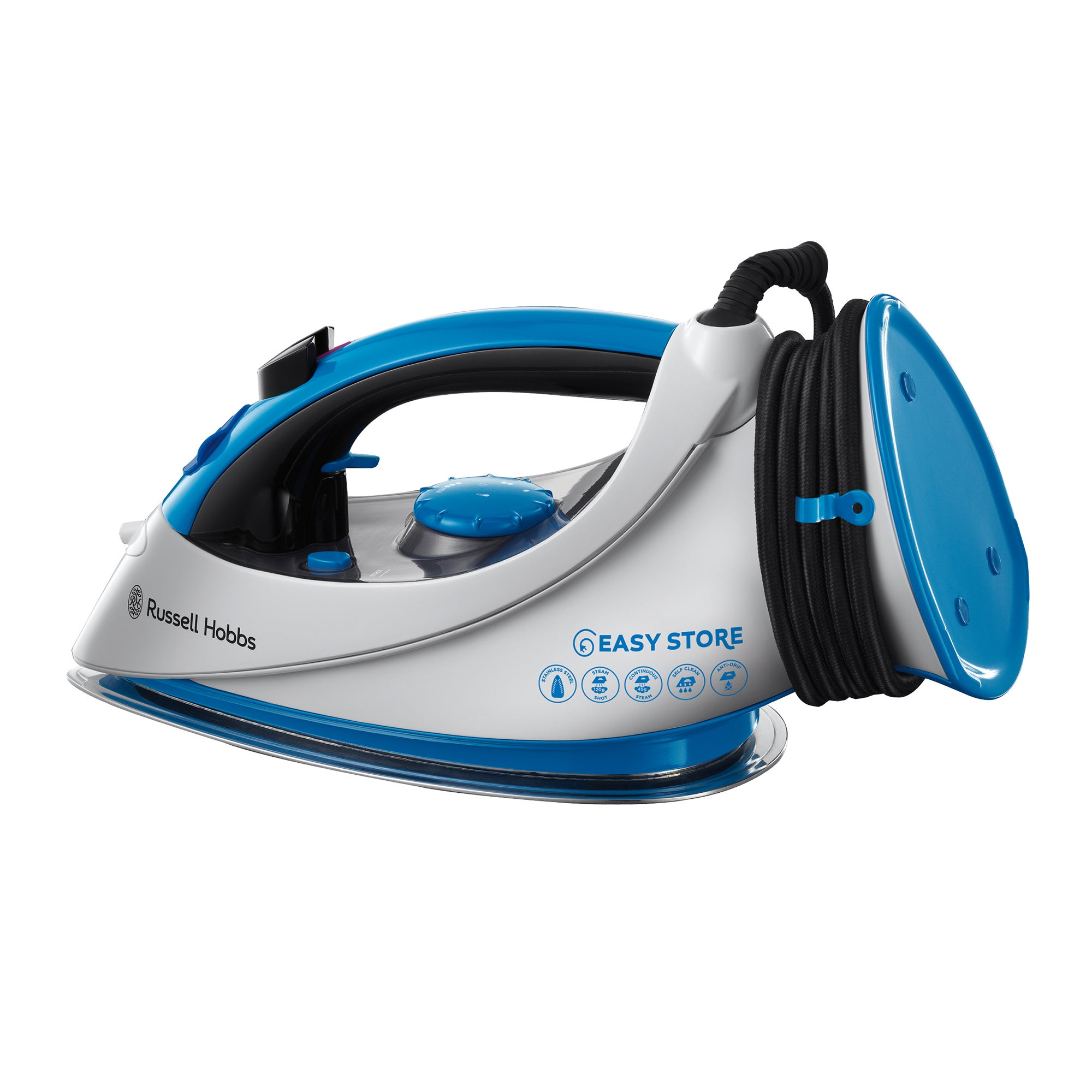 Russell Hobbs 18616 2400w Easy Wrap and Clip Blue Ceramic Iron