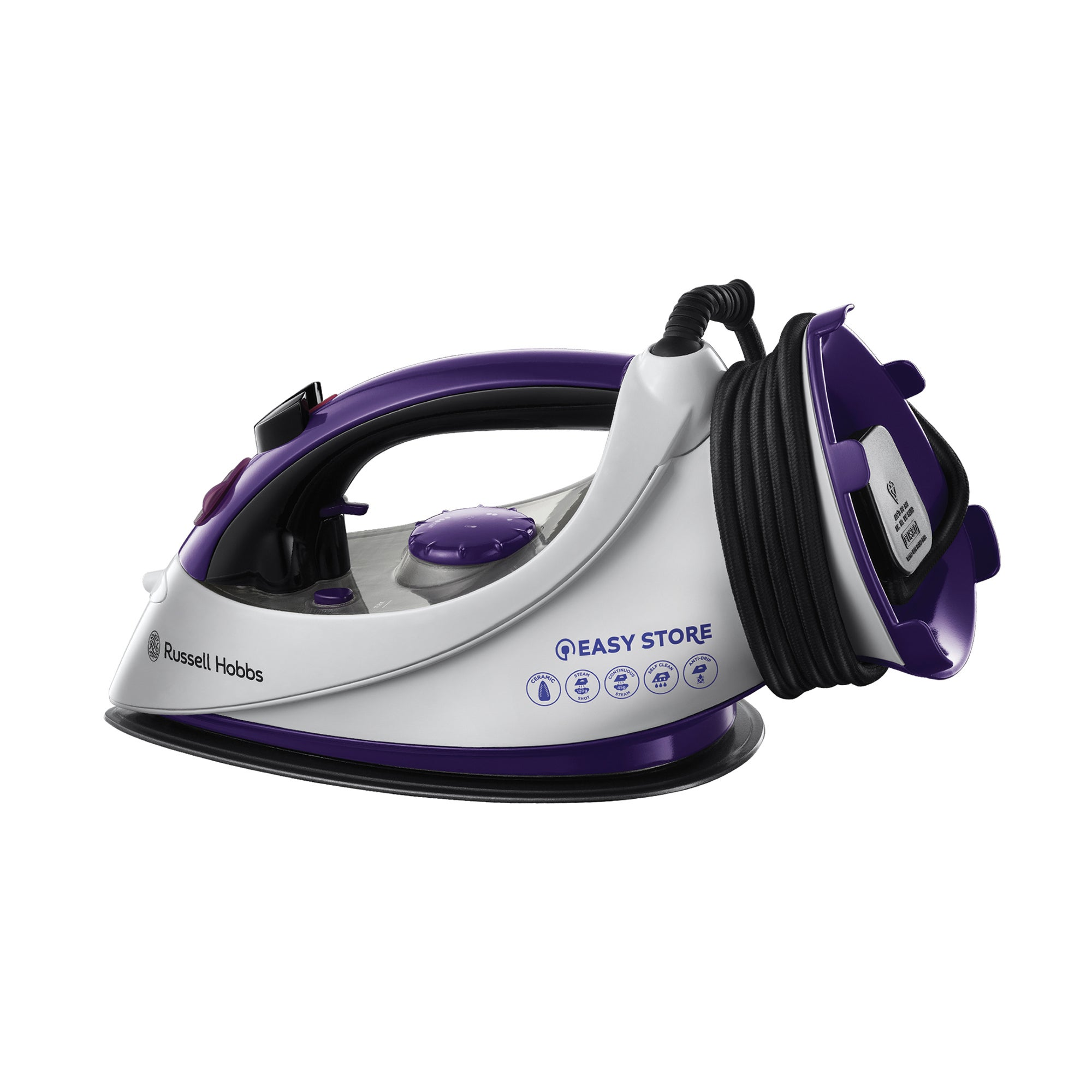Russell Hobbs 18617 Purple Easy Plug and Wind Ceramic Iron
