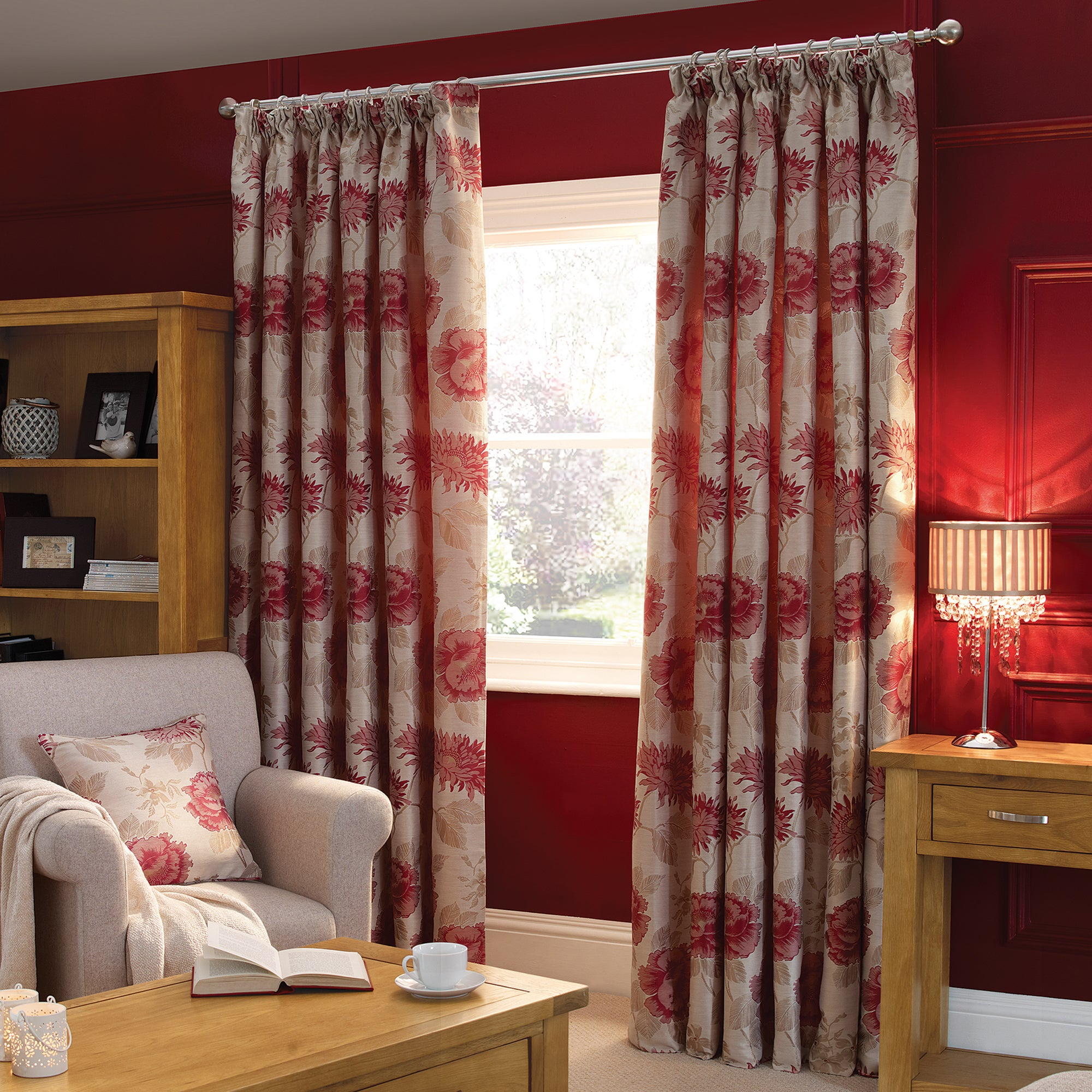 Red Rosa Lined Pencil Pleat Curtains