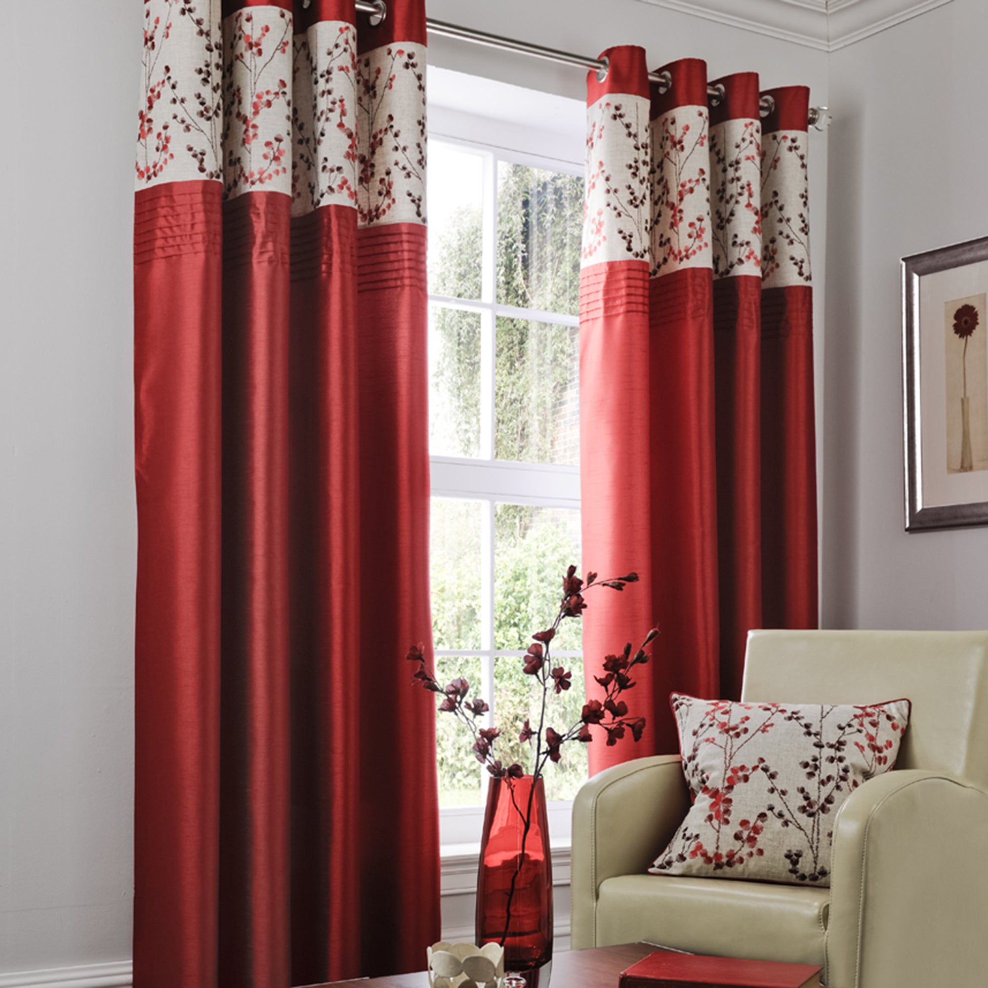 Red Woodland Sprig Lined Eyelet Curtains