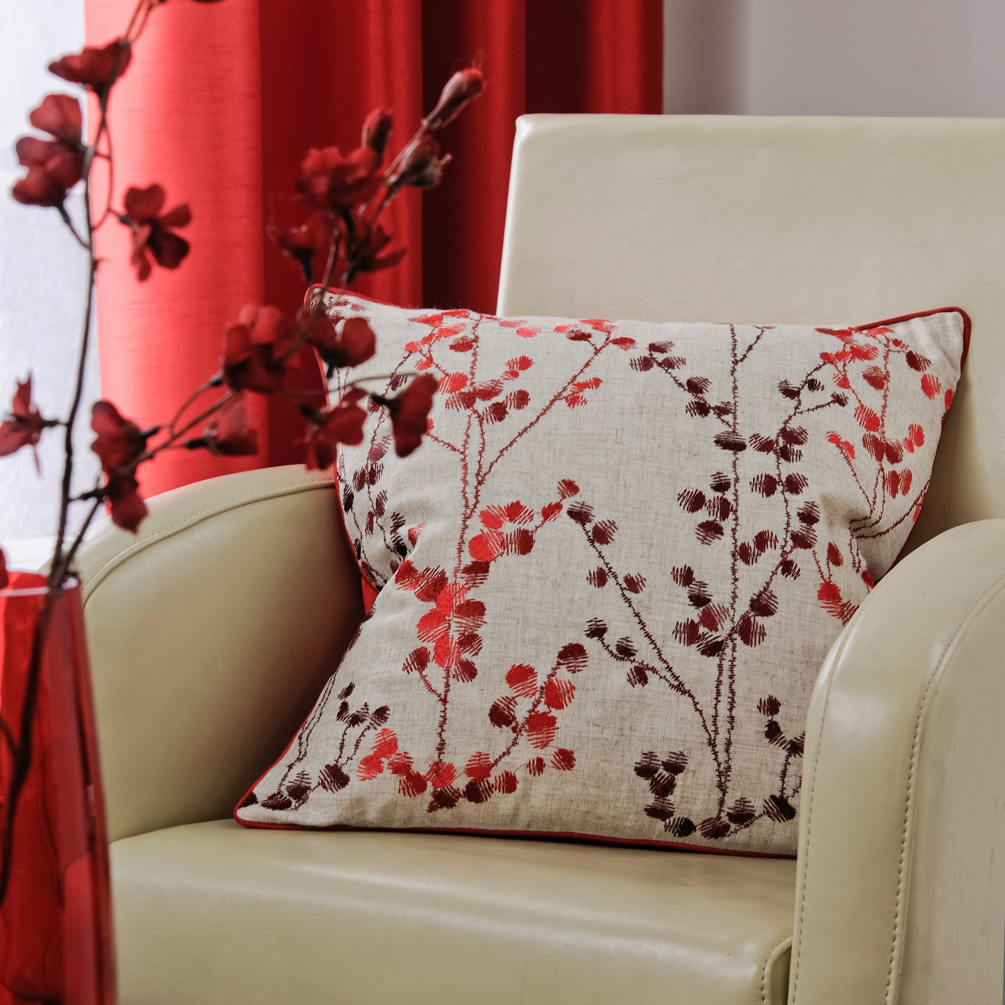 Red Woodland Sprig Collection Cushion