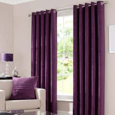 Plum Chenille Lined Eyelet Curtains