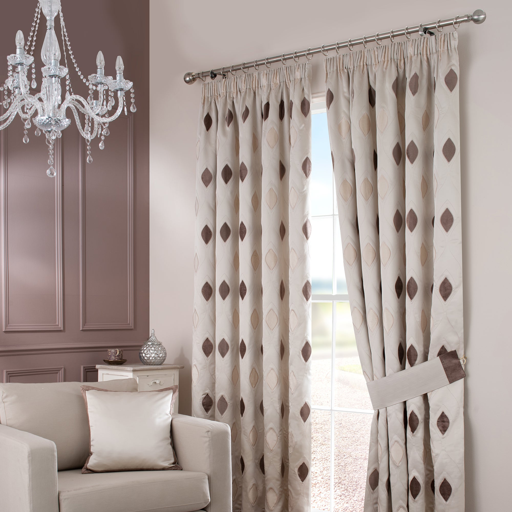 Natural Claridge Lined Pencil Pleat Curtains