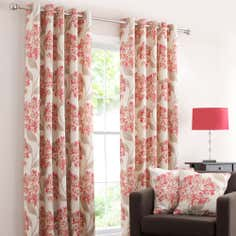 Red Darcy Lined Eyelet Curtains