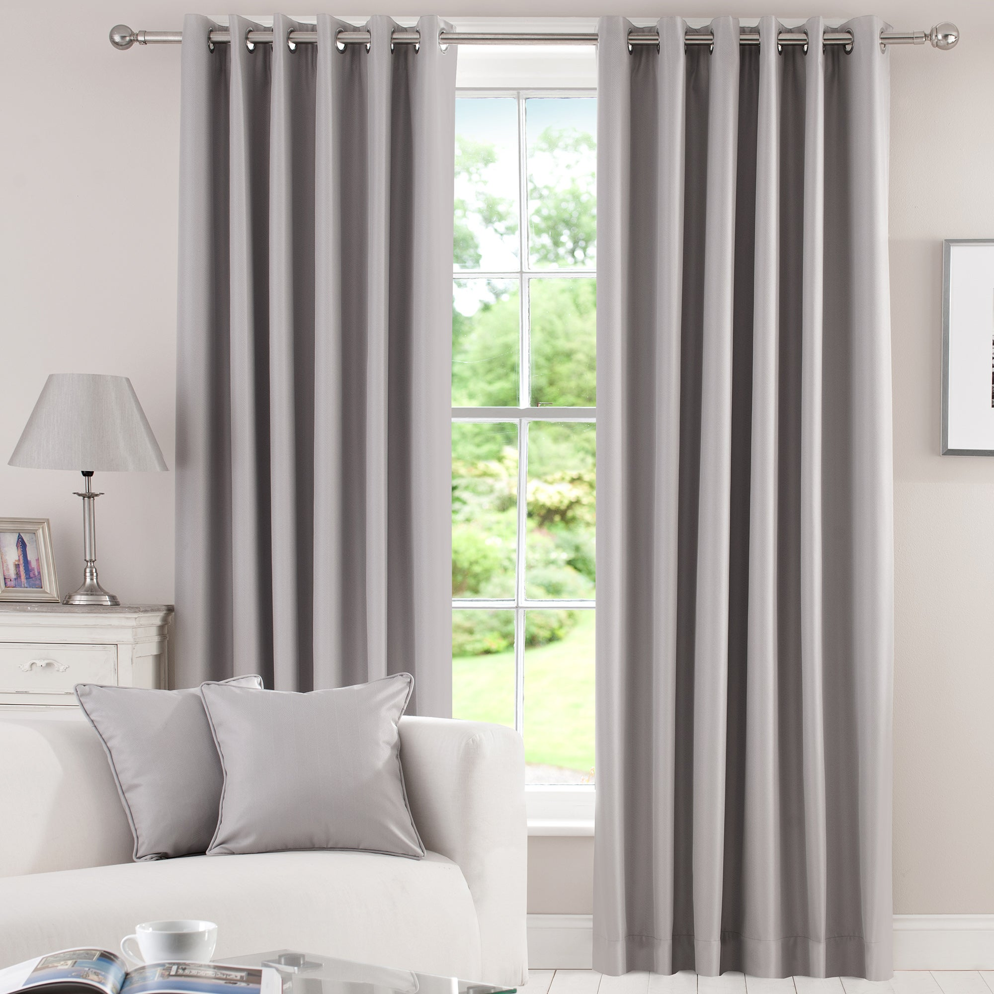 Waters and Noble Grey Herringbone Blackout Eyelet Curtains