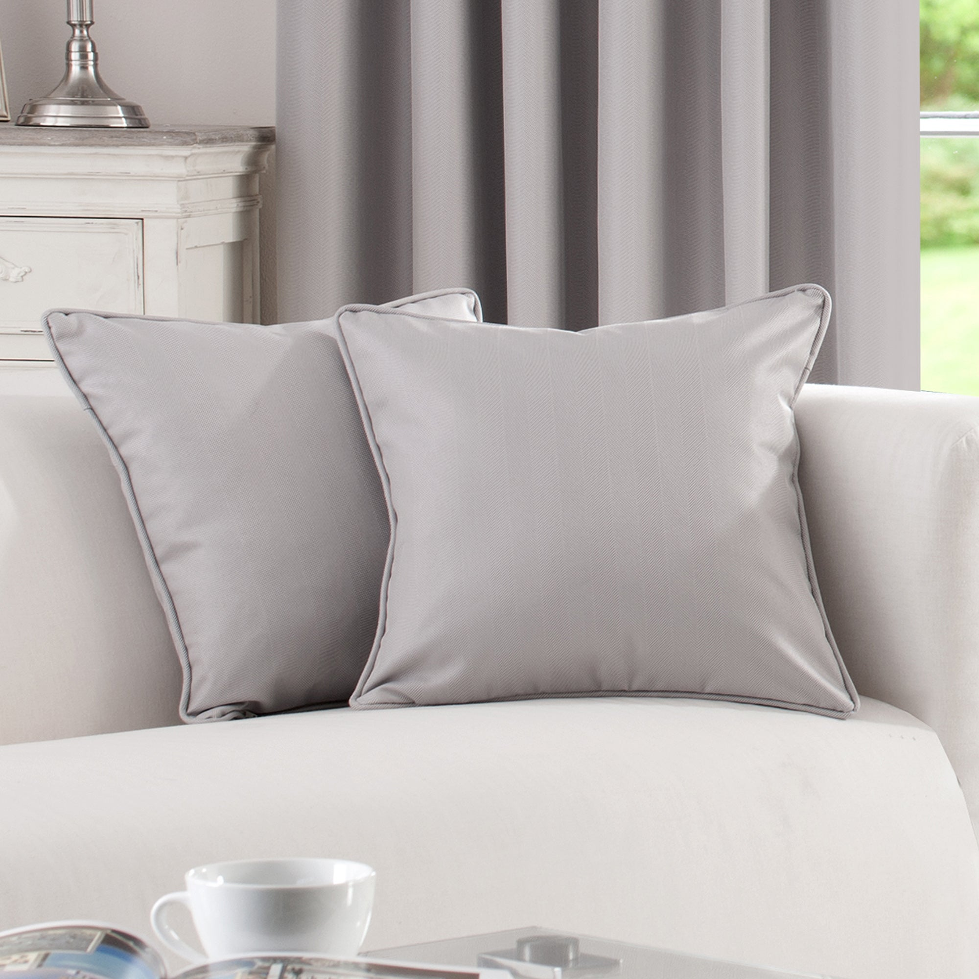 Waters & Noble Grey Herringbone Collection Cushion